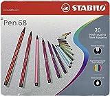 Stabilo® Rotuladores Pen 68 – Estuche de metal, 20 colores; Contenido del paquete: 20 colores