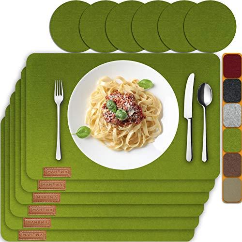 MAHEWA® 6er Set Premium Tischset Platzset aus Filz rutschfest Ab-waschbar und Waschmaschinenfest Eckige Platzdeckchen Teller-Untersetzer Filzset Tisch-Matten Platz-Matten (Grasgrün, 6er Set)