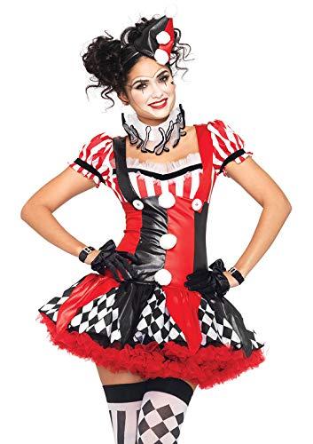 Leg Avenue Women's Harlequin Clown Costume, Black/red, Small