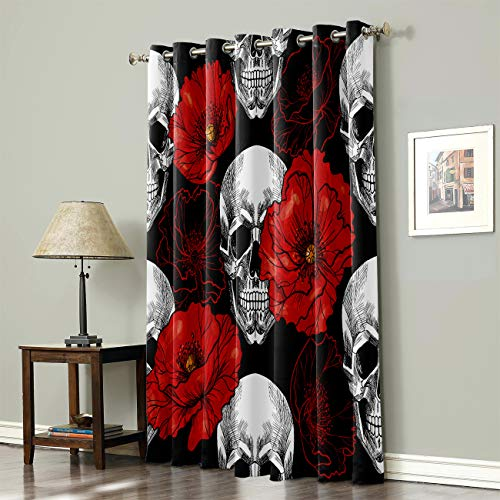 SODIKA Grommet Top Curtains for Living Room Bedroom Window Treatment Curtain Draperies - Cool Skull with Red Flower 52 x 84 inch,1 Panel