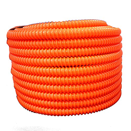 "HydroMaxx Flexible Corrugated PVC Non-Split Tubing and Convoluted Wire Loom - UV Stabilized - Rated for Outdoor Use (1"" dia x 100 ft, Orange)"
