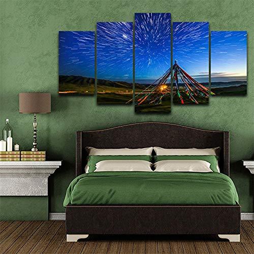 Geen frame Modulaire Canvas Afbeelding Hd Gedrukte Muur Kunst Frame 5 Panelen Tibetaanse Gebed Vlaggen Landschap Schilderen Woonkamer Home Decor Poster