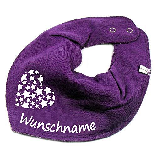 Elefantasie Elefantasie HALSTUCH Herz Sterne mit Namen oder Text personalisiert lila für Baby oder Kind