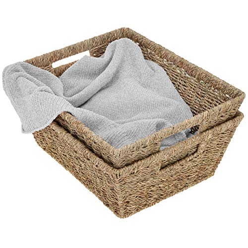 """StorageWorks Seagrass Storage Baskets, Large Wicker Baskets with Built-in Handles, 15"""" x 11.8"""" x 5.7"""", 2-Pack"""