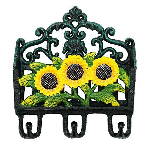 Sungmor Kleurrijke Tuin Heavy Duty Gietijzeren Organizer, Wandhaken, Decoratieve Hangers, Mooie Schilderij Antieke Wanddecoratie Shape D_Sunflower