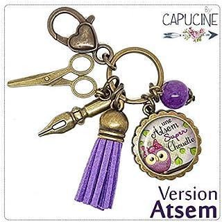 Porte clés - bijou de sac Atsem - Bronze et cabochon verre illustré Une Atsem Super Chouette - idée cadeau ATSEM, cadeau f...