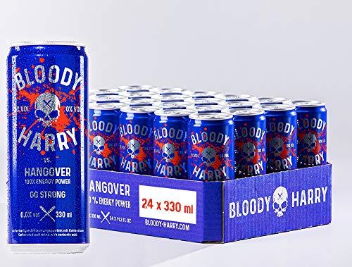 BLOODY HARRY® Premium Energy Drink | MADE IN GERMANY | Natürliches, Erfrischendes & Fruchtiges Geschmackserlebnis | Natürliches Koffein & wenig Zucker | 0,33l, EINWEG (24x0,33l - inkl. Pfand 6,00€)