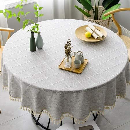 FYLYHWY Plaid Algodón Ropa Redonda Mantel Boda Hotel Banquete Paño Cocina Interior...