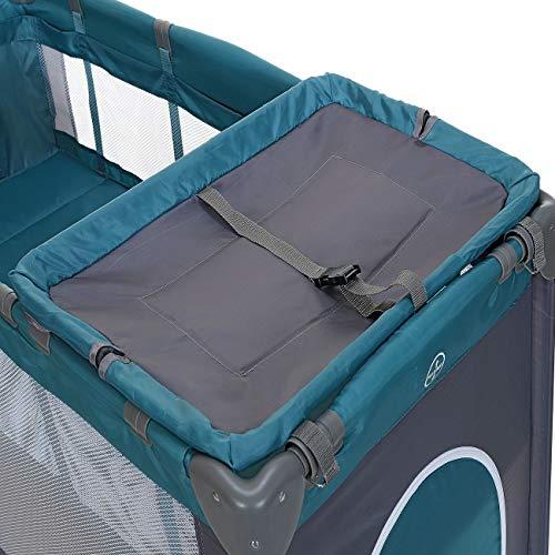 LCP Kids Baby-Reisebett 120x60 klappbar mit Neugeborenen Einlage Wickelauflage in Grün - 3