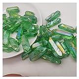 YSJJWDV Piedra de Cristal Venta al por Mayor 50G galvanoplastiojo Verde Titanio Aura Lemurian Crystal Wand Point Curación Cristal de Piedra Decoración de Cristales de Cuarzo Natural (Size : 300g)
