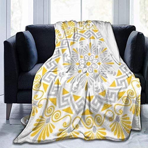 Manta de tiro ultra suave con dise?o de mandala en zigzag de clave griega amarilla y gris forro polar de franela para cama para todas las estaciones ligera sala de estar/coche/viaje manta c¨¢lida para