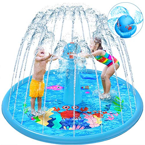 VATOS Splash Pad Wasser-Spielmatte Outdoor Sommer Splash Play Matte Garten Splash Spielmatte Sprinkler Matte Wasserspielzeug für Baby Party Spaß für Kinder 2 3 4 5 Jungen und Mädchen