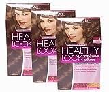 Loreal Healthy Look Hair Dye, Creme Gloss Color, Medium Brown 5, 1 ct (Pack of 3)