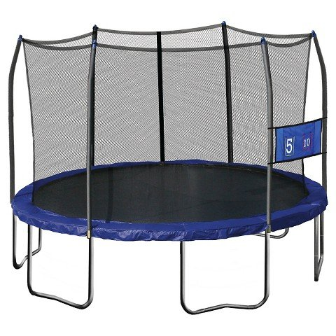 Skywalker Trampolines 12 Round Jump-N-Toss Trampoline with Enclosure - Blue