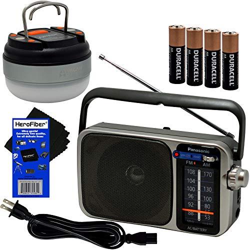 Panasonic Portable AM/FM Radio with Great Reception, Led Tuning Indicator, Compact Size + 4 AA Batteries, Dome Lantern Camping & Emergency 12 LED Flashlight & HeroFiber Compatible with Panasonic Radio