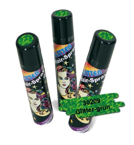 FASCHING 30209 Hairspray Glitter grün, Haarspray+Glitzer+Farbe NEU/OVP