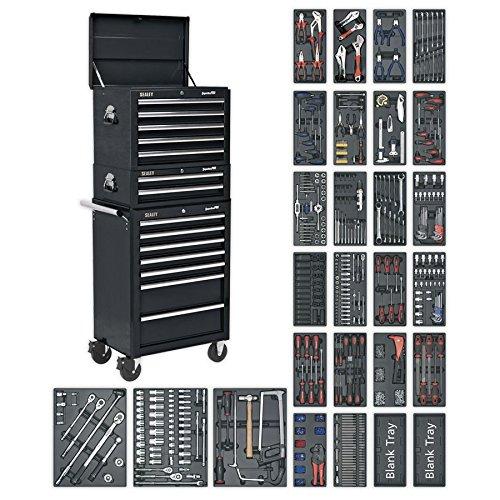 Sealey SPTCOMBO2 Commode à outils 14 tiroirs avec glissières à roulement à billes Noir et 1179 pièces