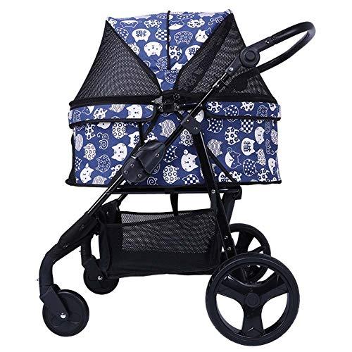 Kinderwagen voor huisdieren 4 wielen, kinderwagen, kinderwagen met veiligheidsonderbrekingen, grote 360 graden draaibare hond/kinderwagen, 15-45 kg gewicht, nette ramen en zakken, Blauw