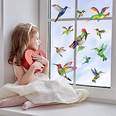 Hummingbird Window Clings Anti Collision Window Stickers Decor Decorative Bird Window Decals for Sliding Glass Doors(12 Pack)
