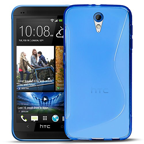 Conie SC5312 S Line Hülle Kompatibel mit HTC Desire 620, TPU Smartphone Hülle Transparent Matt rutschfeste Oberfläche für Desire 620 Rückseite Design Blau