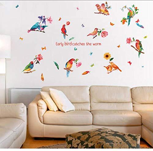 JHLP Leeuwerik Vogels Veer Bloemen Grote Muurstickers Art Decals Woonkamer Woonkamer Slaapkamer DIY 60x90cm