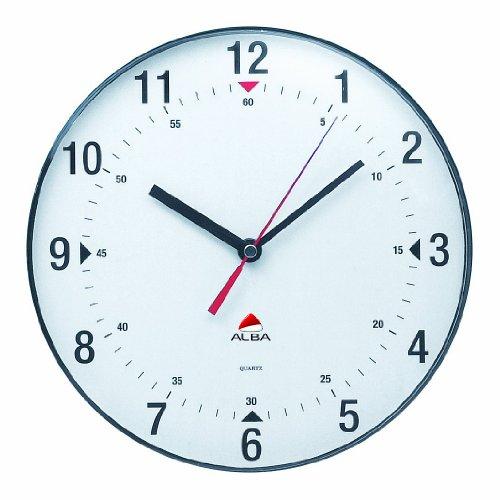 Alba Horclas, Reloj de Cuarzo Clásico de Pared, Plástico, Negro y Blanco, 25 cm