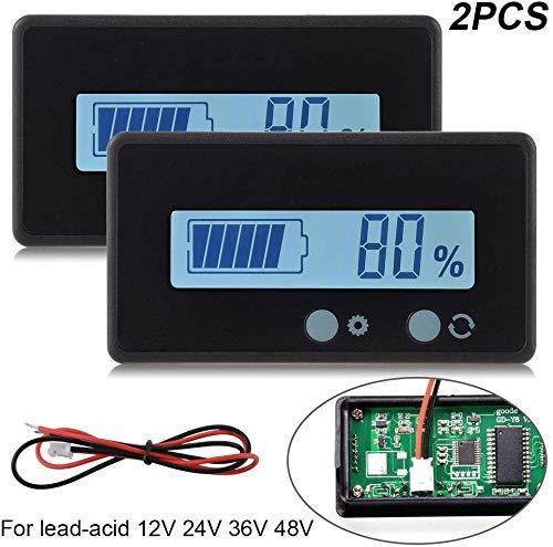2 stück LCD Batterie kapazität Monitor Gauge Meter, wasserdicht 12v / 24v Lithium Batterie kapazität Tester Spannung Meter Monitor weiß hintergrundbeleuchtung für Fahrzeug Batterie