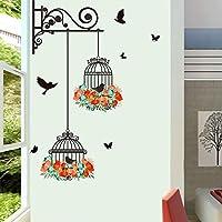 家の装飾の壁のステッカー グレート鳥かご花フライングリビングルーム保育園ルームウォールステッカービニールの壁飾りウォールステッカー