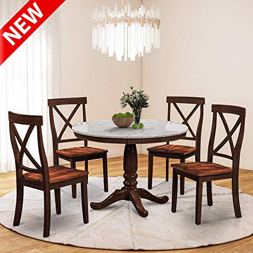 "DANGRUUT Upgraded Version Best 5 Piece Dining Table Set, 42"" Luxurious Kitchen Dining Room Furniture/1 Table with Round Marble Top and 4 Chair, Thicken Rubber Wood Structure Support (Espresso)"