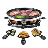 Raclette Grills for 8 People Party with 8 Mini Electric Grill Pan Barbecue Health Electric Large Grill Machine Indoor in Non-Stick Grilling Surface