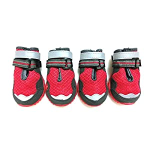 Xanday Breathable Dog Boots, Mesh Dog Shoes,Paw Protectors with Reflective and Adjustable Straps and Wear-Resisting Soles,4pcs (3,Red)