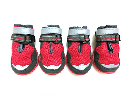 Xanday Breathable Dog Boots, Mesh Dog Shoes, Paw Protectors with Reflective and Adjustable Straps and Wear-resisting Soles,4pcs (6, Red)