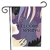 CJDZ-19 Deko-Fahne für den Frühjahr, doppelseitig, für Vögel, Banner im Bauernhof, fröhliche Frühling, Bunte Blumen, grüne Blätter, Gartendekoration, 31,8 x 45,7 cm