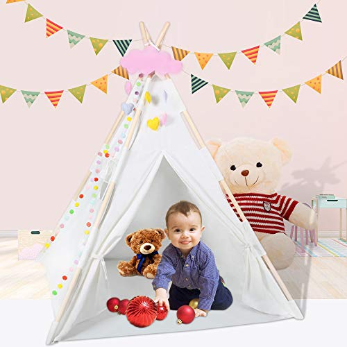 BOOWAY Kids Teepee Tent with Mat, Lights, Pompoms, Cloud - Cotton Canvas Teepee Play Tents for...