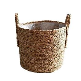 Fabrication artisanale de paille Panier de rangement tissé panier en rotin et osier Planteur Pot de fleur Conteneur pour…