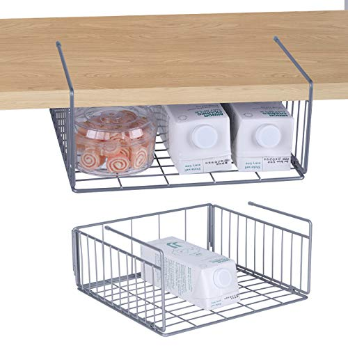 Simple Gear 2-Pack Under Cabinet Shelf Basket Organizer Steel Metal Wire Rack Hanging Storage Baskets Holds up to 22lbs for Kitchen Pantry or Refrigerator Silver
