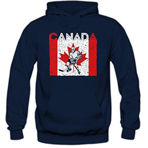 Shirt Happenz Canada Eishockey #4 Premium Hoodie | Kanada | Flagge | EIS-Hockey-Spieler | Herren | Kapuzenpullover, Farbe:Dunkelblau;Größe:S