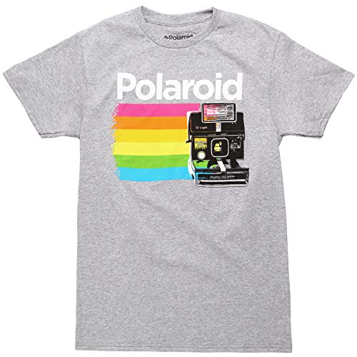Polaroid Land Camera Color Stripe Adult T-Shirt - Heather Grey (X-Large)