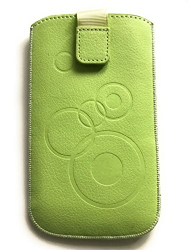 Handytasche Circle creme-grün geeignet für BlackBerry Z10 - Handy Tasche Schutz Hülle Slim Hülle Cover Etui mit Klettverschluss & Gürtelschlaufe