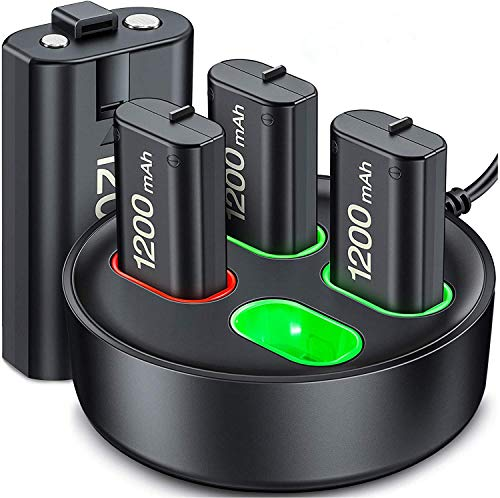 ESYWEN Rechargeable Battery Packs for Xbox Series X|S/Xbox One, 4×1200mAh Rechargeable Battery Kit and Controller Charger Station for Xbox Series X|S/Xbox One S/X/Elite Controller