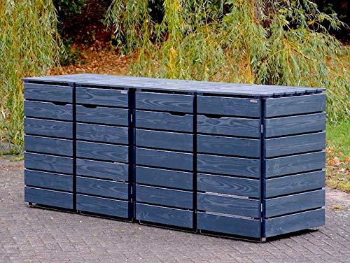 4er Mülltonnenbox / Mülltonnenverkleidung 240 L Holz, Deckend Geölt Anthrazit Grau - 2