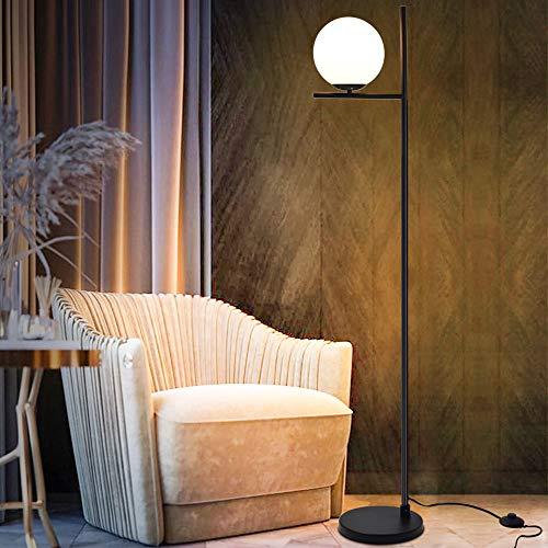 DLLT Modern LED Sphere Floor Lamp-9W Frosted Glass Globe Standing Lamps for Bedroom, Energy Saving Mid Century Tall Pole Standing Accent Lighting for Living Room, Office, Bedroom, Black