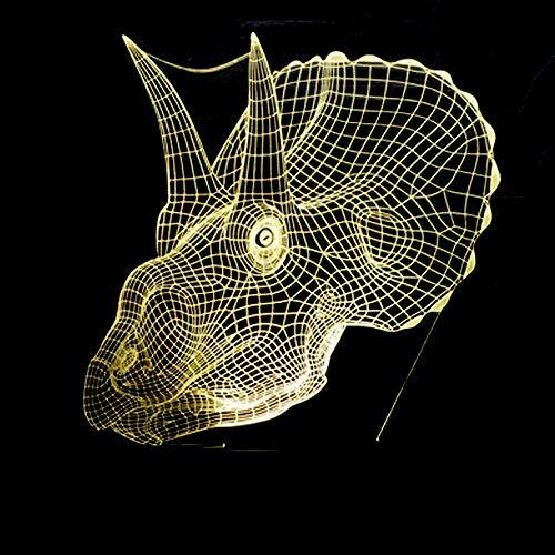 VIWIV Lámpara de escritorio Lámpara Dinosaurio LED lámpara degradado colorido gradiente 3D estereoscópico táctil remoto usb luz de noche escritorio de noche decorado imaginativamente regalo de cumplea