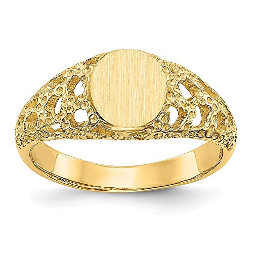 DIAMOND2DEAL INC Anillo de Oro Amarillo Macizo de 14 Quilates para Hombre, tamaño 5