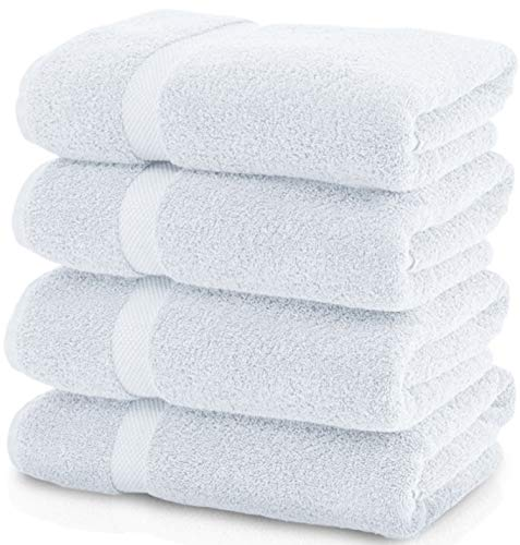 Luxury White Bath Towels Large - 700 GSM Circlet Egyptian Cotton | Absorbent Hotel Collection Bathroom Towel | 27x54 Inch | Set of 4 (White, 4)