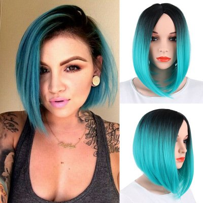FCHW Wig Colorful Wigs Ombre Blue Wigs Straight Middle Part Wigs Dark Roots Synthetic Wigs Heat Resistant Synthetic Wigs Synthetic Short Wigs For Women (WS101 -GG)