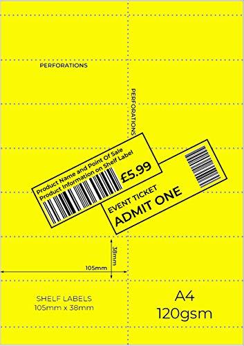OfficeGear Etiquetas amarillas para borde de estante (350 unidades) 38x105mm imprimibles A4 14 etiquetas perforadas para códigos de barras, etiquetas de precios, incluyendo plantilla