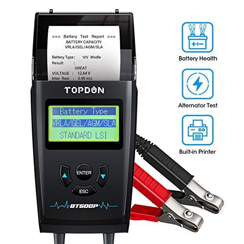Car Battery Tester with Printer 12V 24V Load Tester TOPDON BT500P Automotive Alternator Tester Auto Digital Analyzer Tool Charging Cranking System Tester for Car Truck Motorcycle ATV SUV Boat Yacht