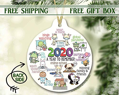 2020 Kids Christmas Ornament, Holiday Ornament for Children, Ornament Boy, Girl Ornament, Quarantine Pandemic Ornament, 2020 Memories, 3 Inch