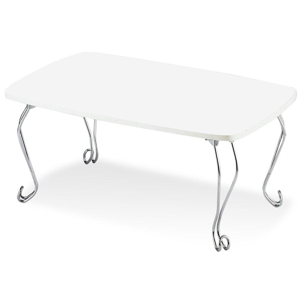 折りたたみテーブル ローテーブル 猫脚 ちゃぶ台 折れ脚 幅70×奥行50×高さ35cm ホワイト TKM-7401WH